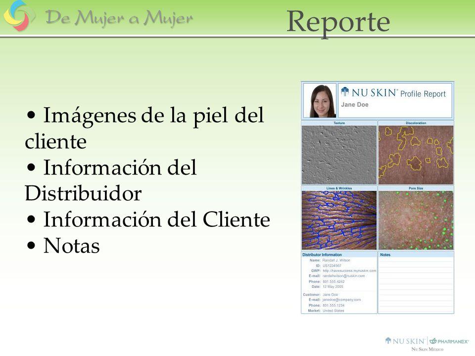 Reporte Imágenes de la piel del cliente Información del Distribuidor