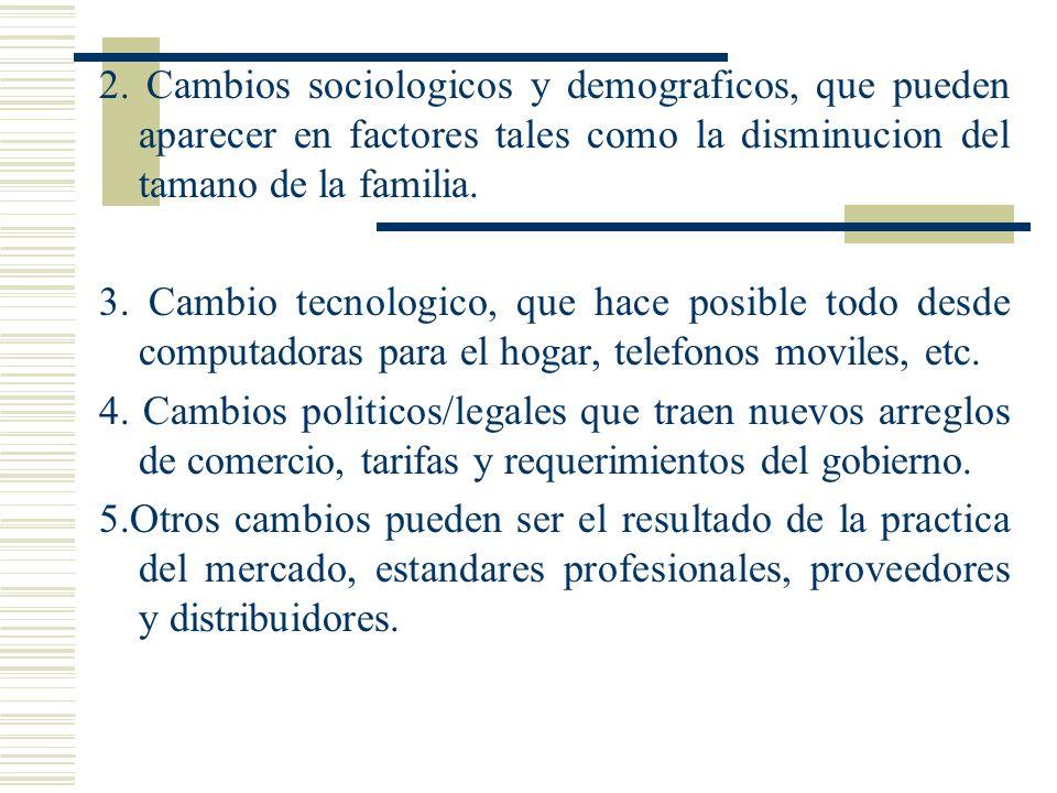 2. Cambios sociologicos y demograficos, que pueden aparecer en factores tales como la disminucion del tamano de la familia.