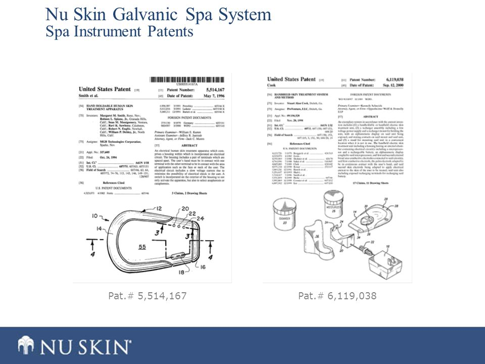 Nu Skin Galvanic Spa System Spa Instrument Patents