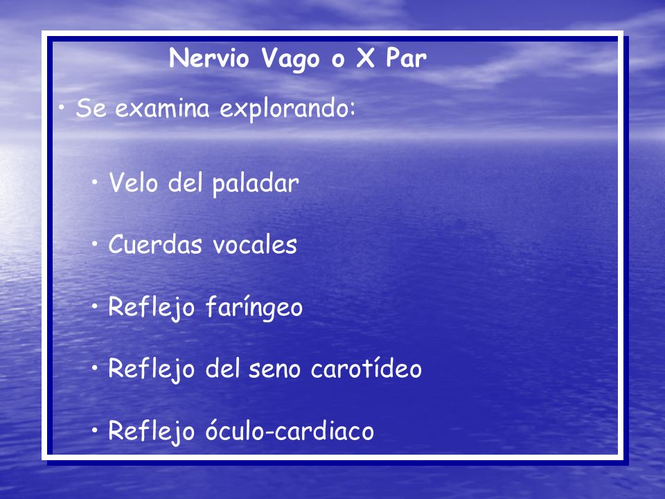 Nervio Vago o X Par Se examina explorando: Velo del paladar. Cuerdas vocales. Reflejo faríngeo. Reflejo del seno carotídeo.