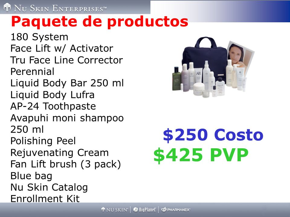 $425 PVP $250 Costo Paquete de productos