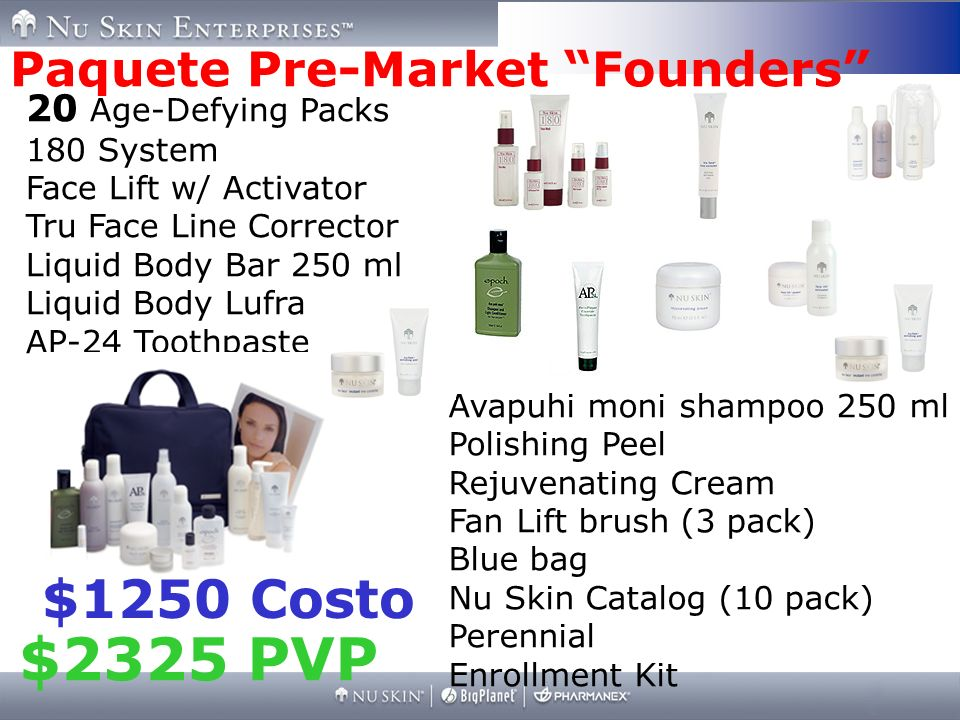 $2325 PVP $1250 Costo Paquete Pre-Market Founders