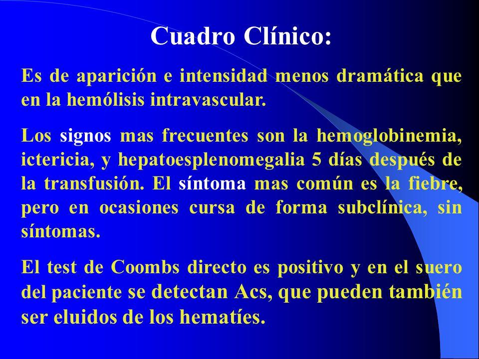 Cuadro Clínico: Es de aparición e intensidad menos dramática que en la hemólisis intravascular.