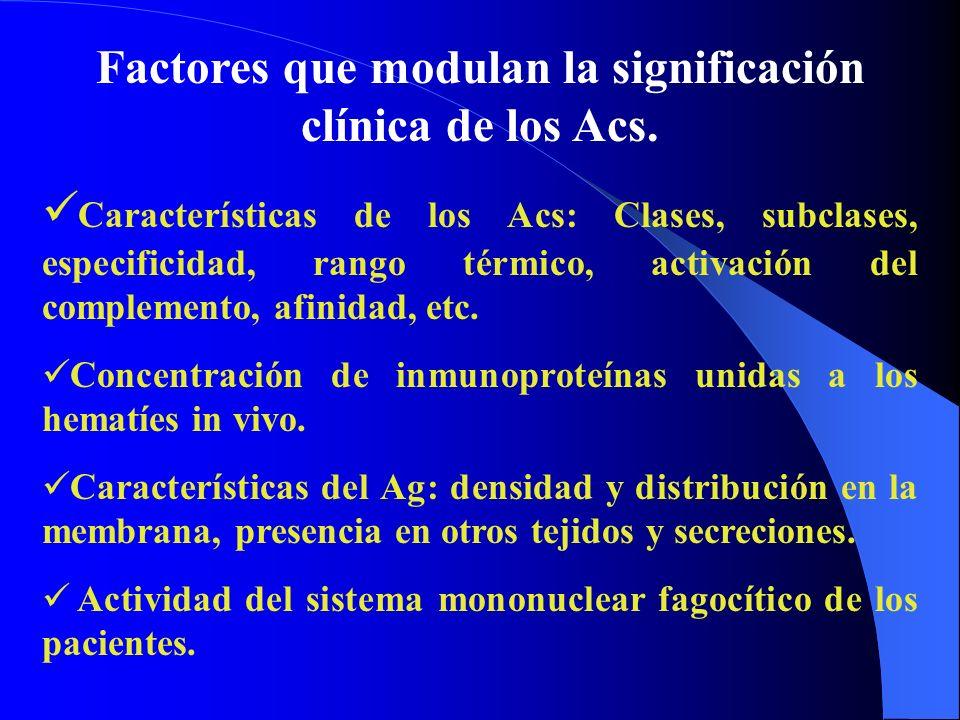Factores que modulan la significación clínica de los Acs.