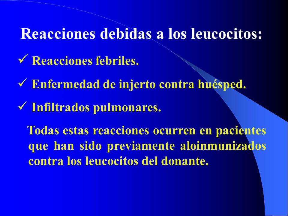 Reacciones debidas a los leucocitos: