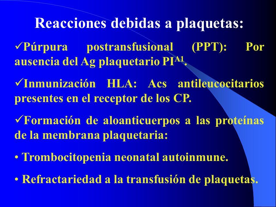 Reacciones debidas a plaquetas: