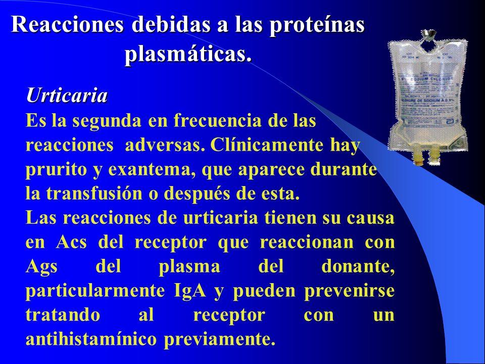 Reacciones debidas a las proteínas plasmáticas.