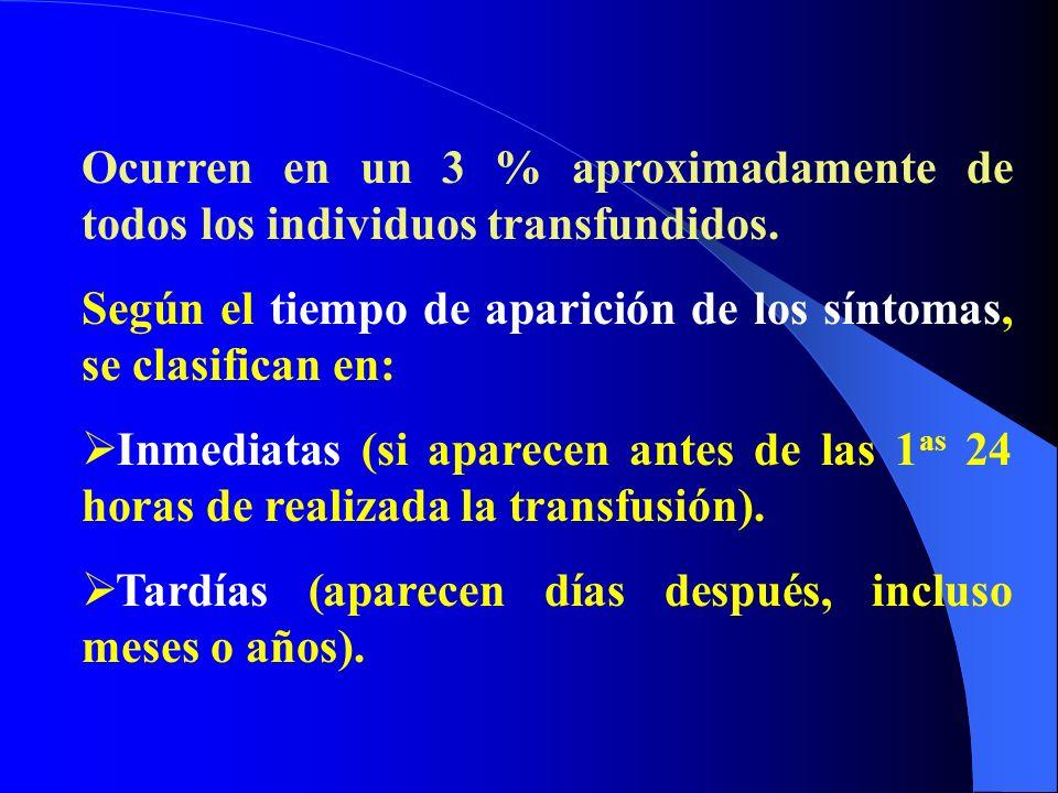 Ocurren en un 3 % aproximadamente de todos los individuos transfundidos.