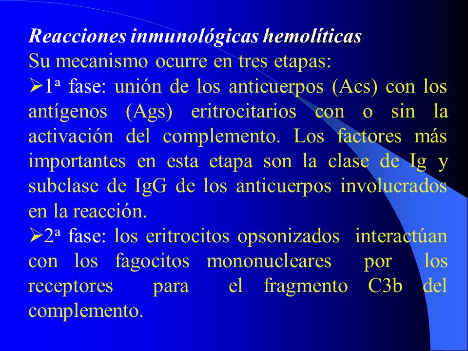 Reacciones inmunológicas hemolíticas
