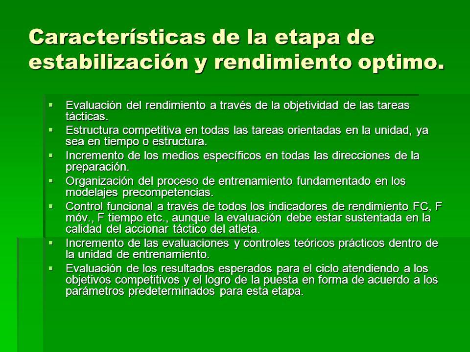 Características de la etapa de estabilización y rendimiento optimo.