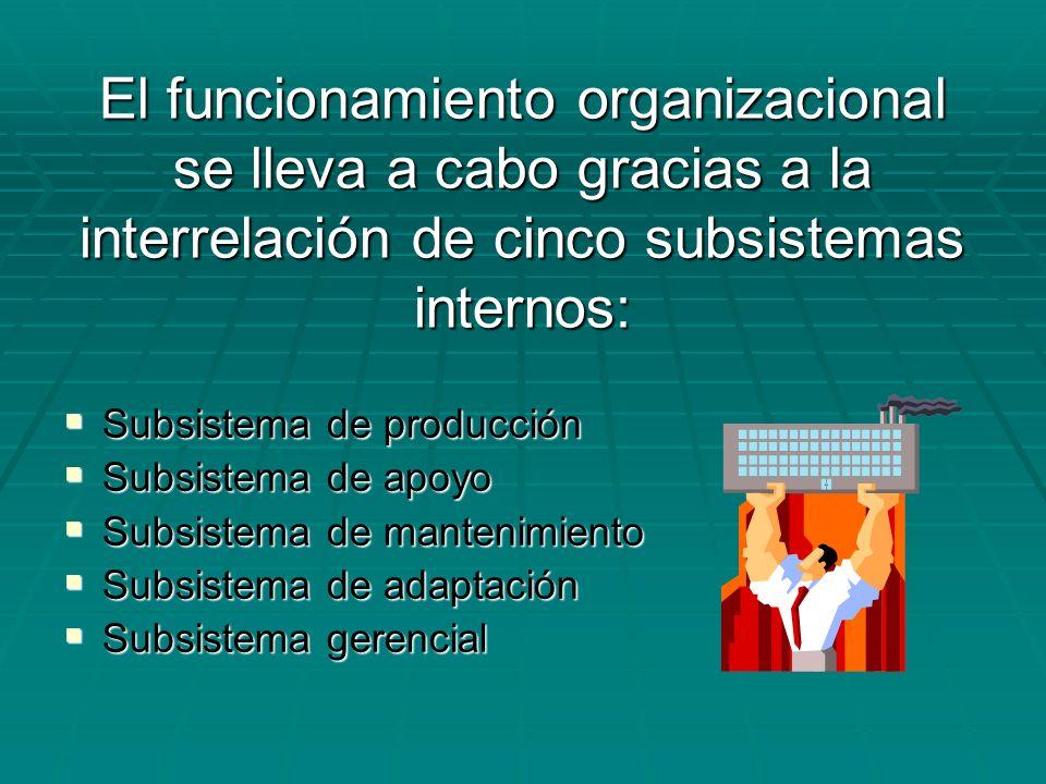 El funcionamiento organizacional se lleva a cabo gracias a la interrelación de cinco subsistemas internos: