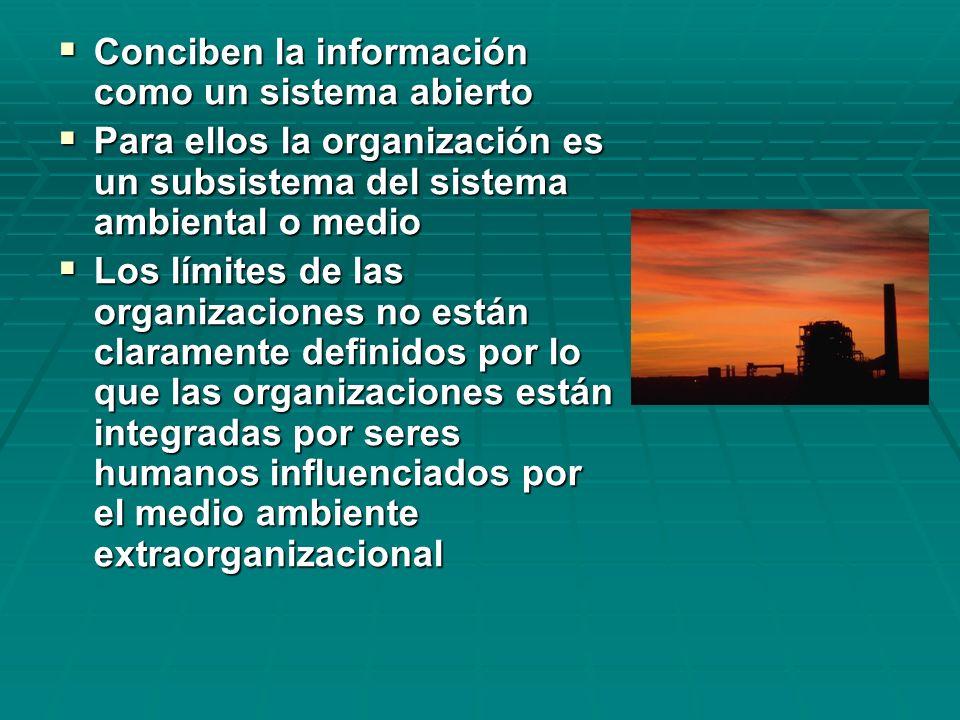 Conciben la información como un sistema abierto
