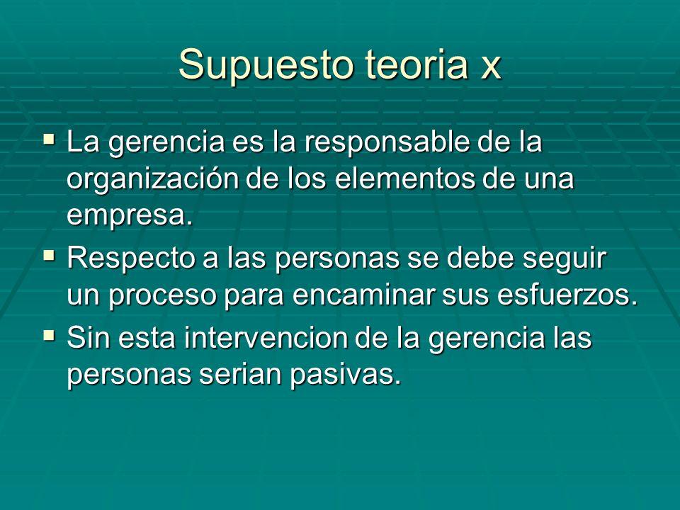 Supuesto teoria x La gerencia es la responsable de la organización de los elementos de una empresa.