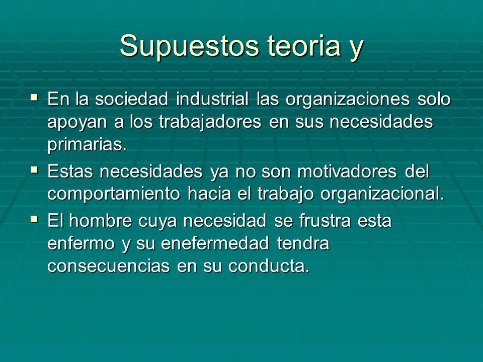 Supuestos teoria y En la sociedad industrial las organizaciones solo apoyan a los trabajadores en sus necesidades primarias.