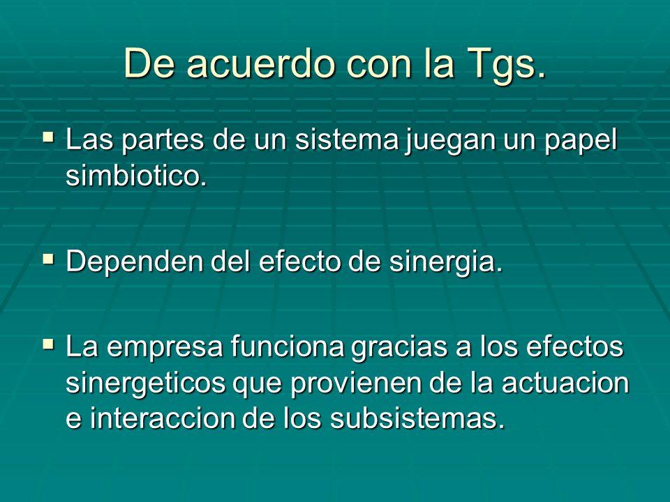 De acuerdo con la Tgs. Las partes de un sistema juegan un papel simbiotico. Dependen del efecto de sinergia.