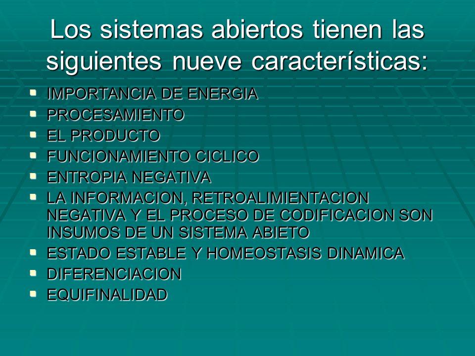 Los sistemas abiertos tienen las siguientes nueve características: