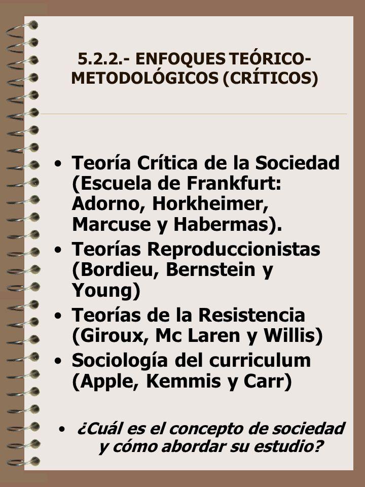 5.2.2.- ENFOQUES TEÓRICO- METODOLÓGICOS (CRÍTICOS)