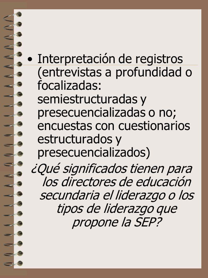 Interpretación de registros (entrevistas a profundidad o focalizadas: semiestructuradas y presecuencializadas o no; encuestas con cuestionarios estructurados y presecuencializados)