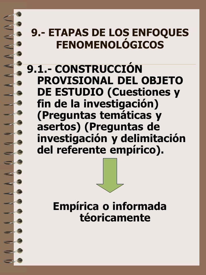 9.- ETAPAS DE LOS ENFOQUES FENOMENOLÓGICOS