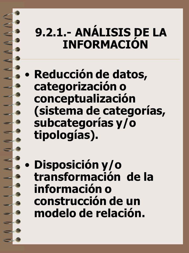 9.2.1.- ANÁLISIS DE LA INFORMACIÓN