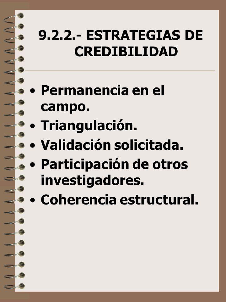 9.2.2.- ESTRATEGIAS DE CREDIBILIDAD
