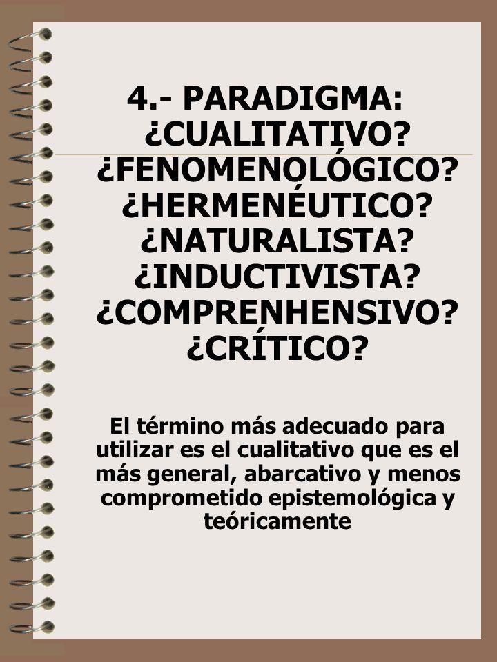 4. - PARADIGMA: ¿CUALITATIVO. ¿FENOMENOLÓGICO. ¿HERMENÉUTICO