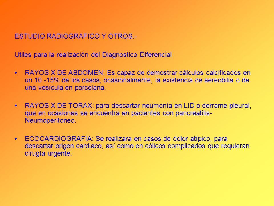ESTUDIO RADIOGRAFICO Y OTROS.-
