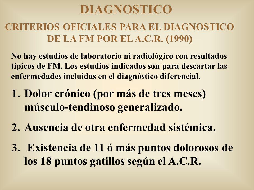 CRITERIOS OFICIALES PARA EL DIAGNOSTICO DE LA FM POR EL A.C.R. (1990)