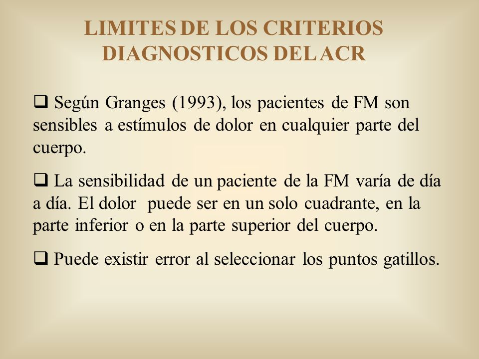 LIMITES DE LOS CRITERIOS DIAGNOSTICOS DEL ACR