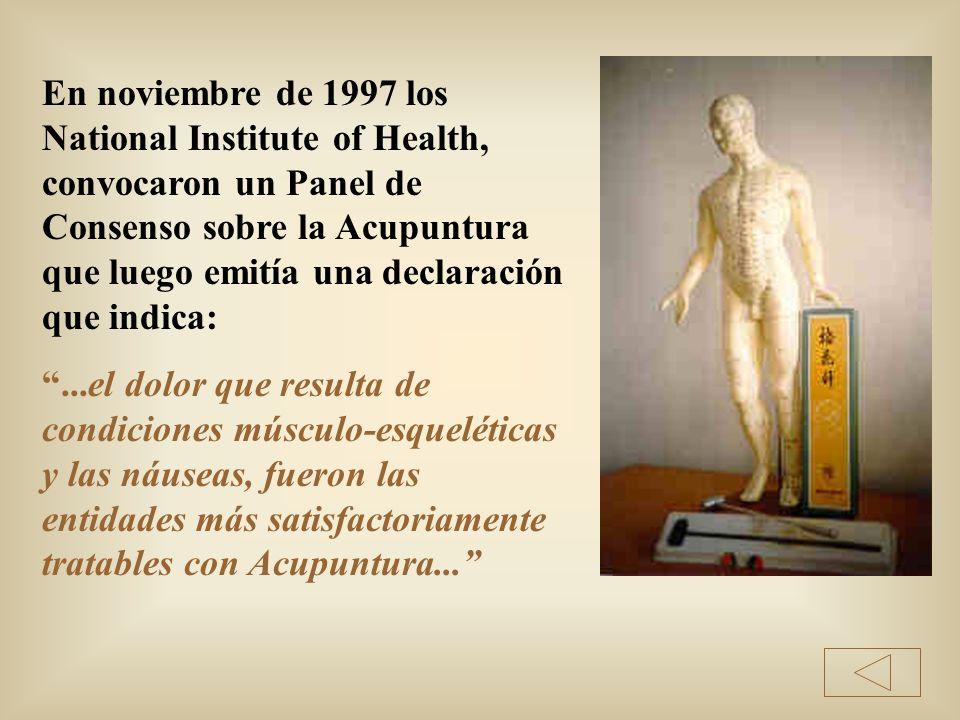 En noviembre de 1997 los National Institute of Health, convocaron un Panel de Consenso sobre la Acupuntura que luego emitía una declaración que indica: