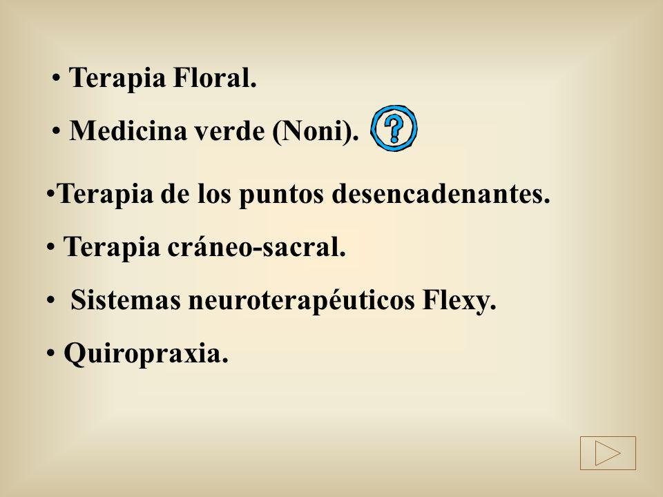 Terapia Floral. Medicina verde (Noni). Terapia de los puntos desencadenantes. Terapia cráneo-sacral.