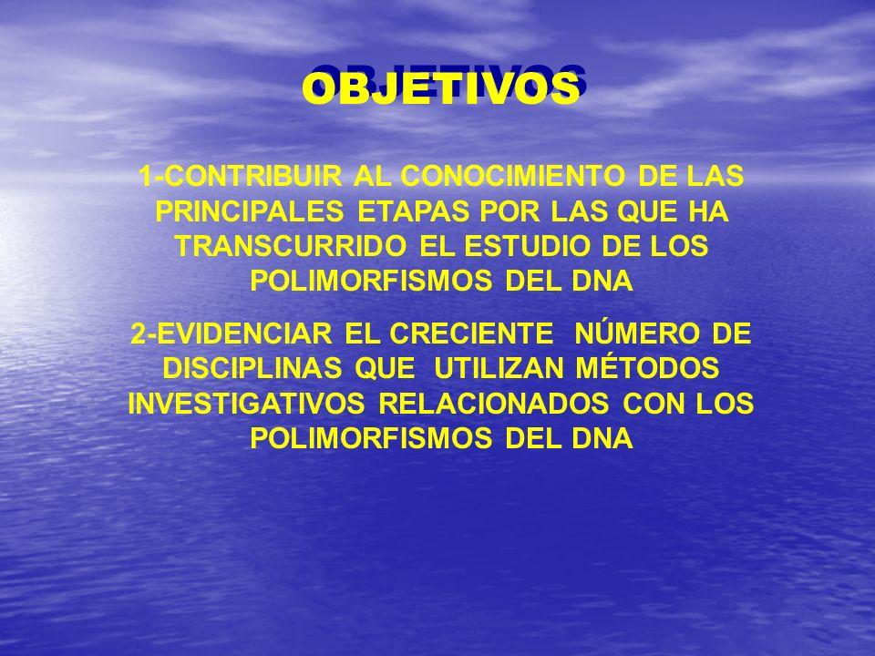 OBJETIVOS 1-CONTRIBUIR AL CONOCIMIENTO DE LAS PRINCIPALES ETAPAS POR LAS QUE HA TRANSCURRIDO EL ESTUDIO DE LOS POLIMORFISMOS DEL DNA.