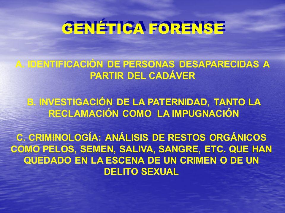 A. IDENTIFICACIÓN DE PERSONAS DESAPARECIDAS A PARTIR DEL CADÁVER