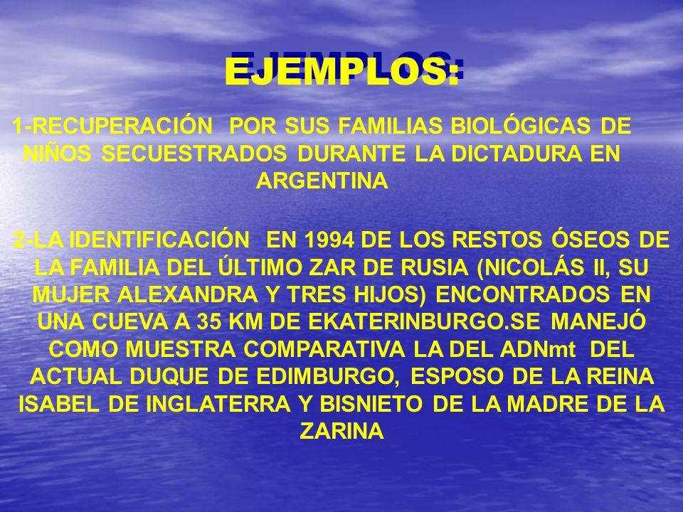 EJEMPLOS: 1-RECUPERACIÓN POR SUS FAMILIAS BIOLÓGICAS DE NIÑOS SECUESTRADOS DURANTE LA DICTADURA EN ARGENTINA.