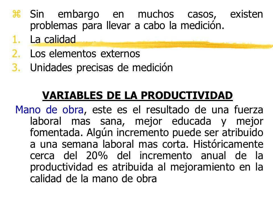 VARIABLES DE LA PRODUCTIVIDAD