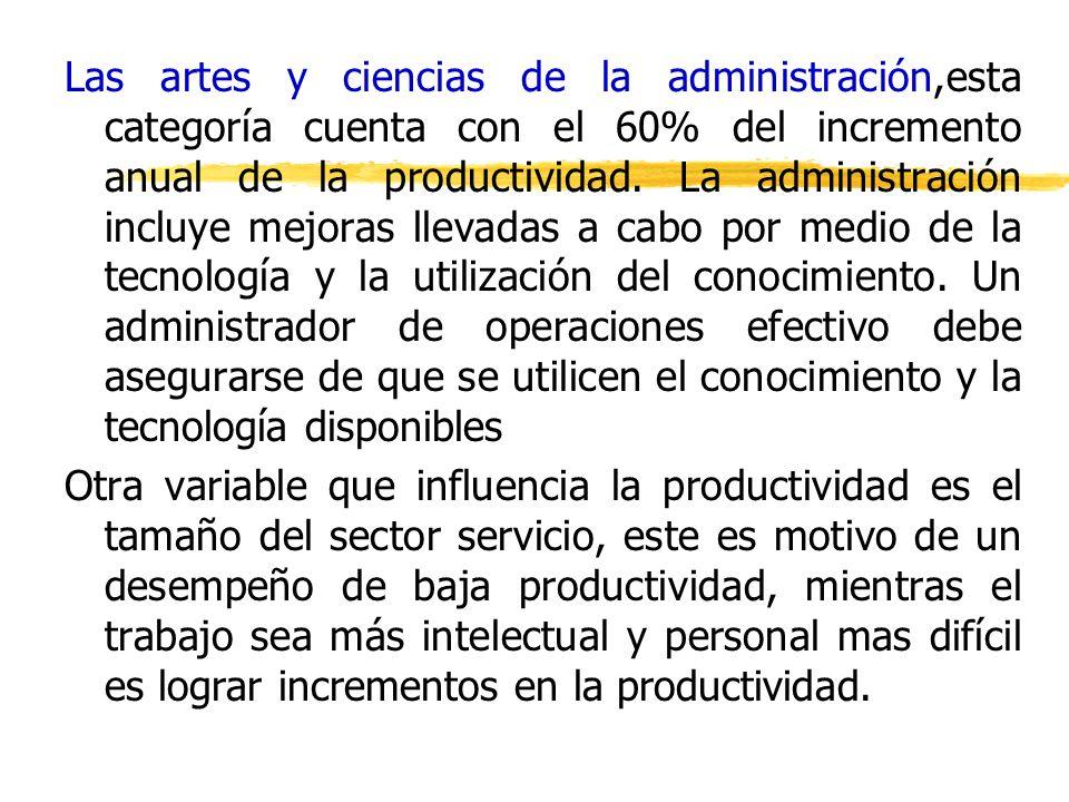 Las artes y ciencias de la administración,esta categoría cuenta con el 60% del incremento anual de la productividad. La administración incluye mejoras llevadas a cabo por medio de la tecnología y la utilización del conocimiento. Un administrador de operaciones efectivo debe asegurarse de que se utilicen el conocimiento y la tecnología disponibles