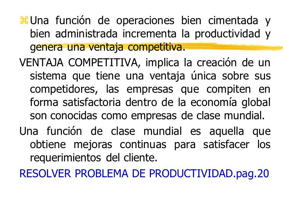 Una función de operaciones bien cimentada y bien administrada incrementa la productividad y genera una ventaja competitiva.