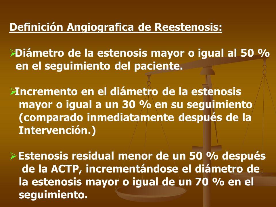 Definición Angiografica de Reestenosis: