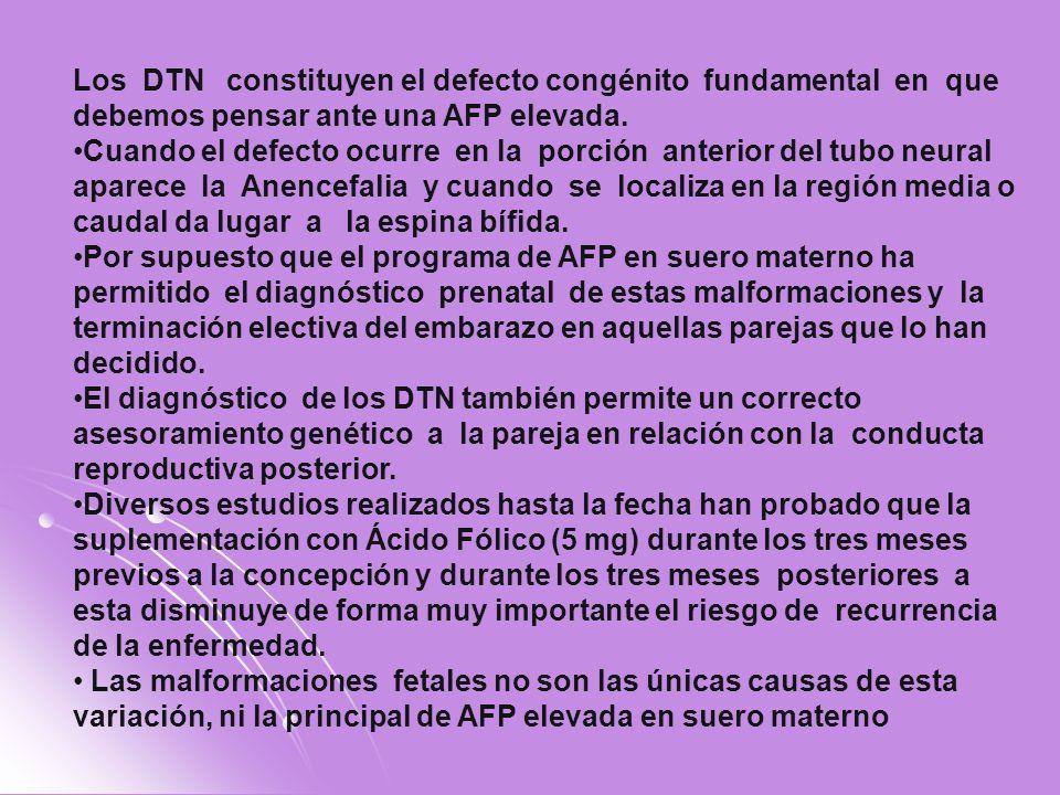Los DTN constituyen el defecto congénito fundamental en que debemos pensar ante una AFP elevada.