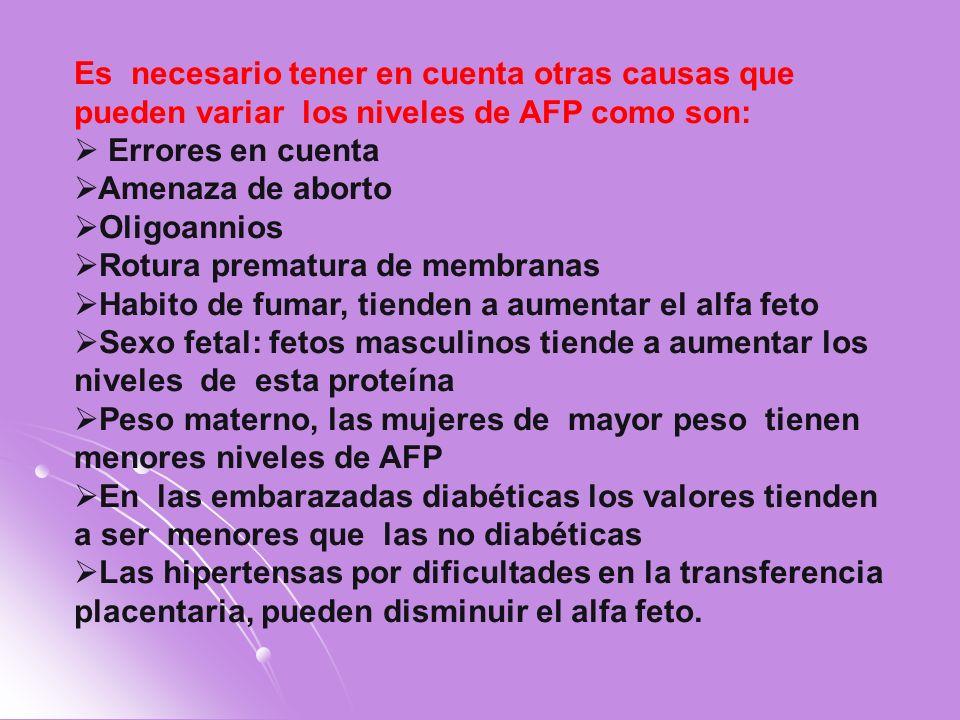 Es necesario tener en cuenta otras causas que pueden variar los niveles de AFP como son: