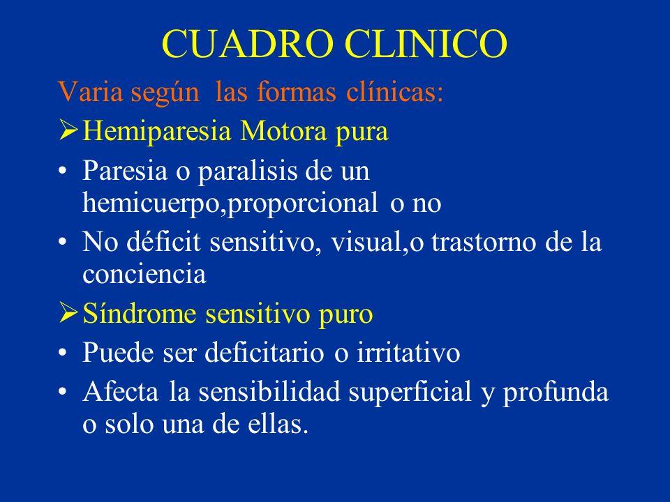 CUADRO CLINICO Varia según las formas clínicas: