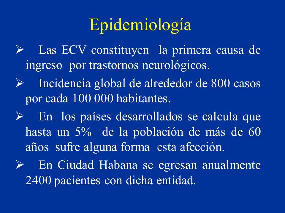 Epidemiología Las ECV constituyen la primera causa de ingreso por trastornos neurológicos.
