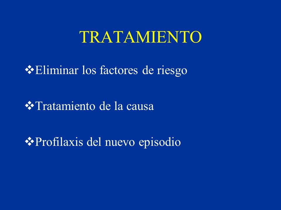 TRATAMIENTO Eliminar los factores de riesgo Tratamiento de la causa