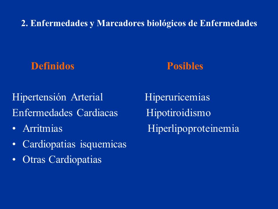 2. Enfermedades y Marcadores biológicos de Enfermedades