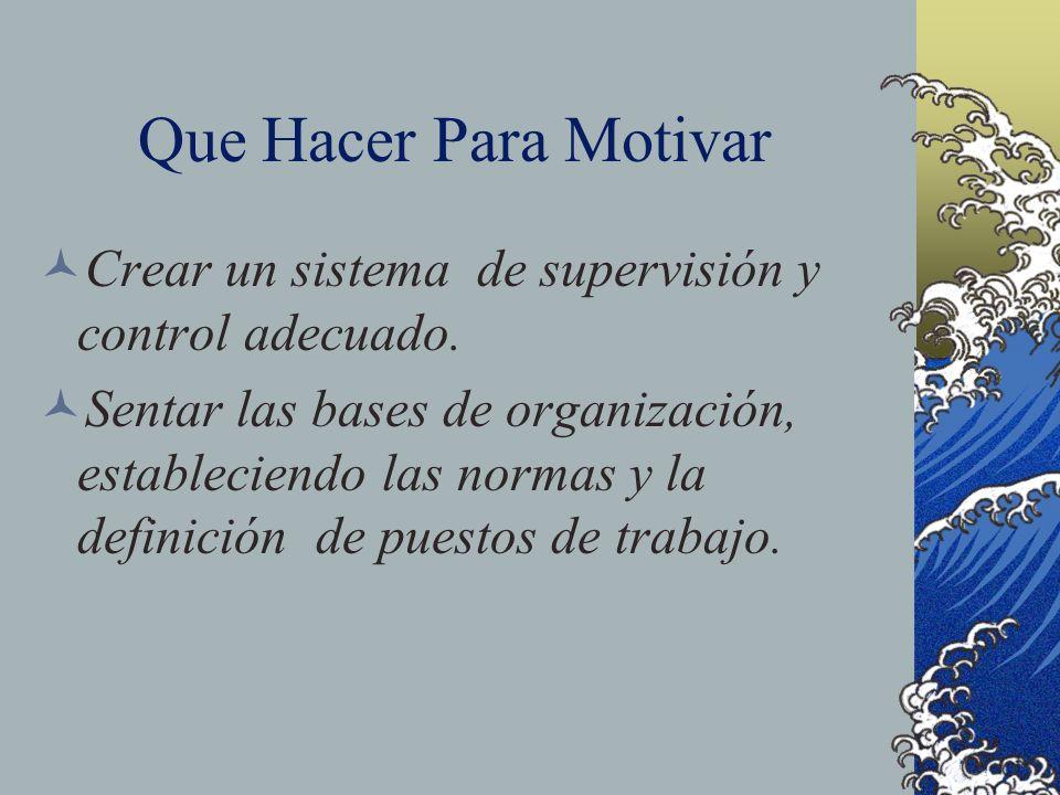 Que Hacer Para Motivar Crear un sistema de supervisión y control adecuado.