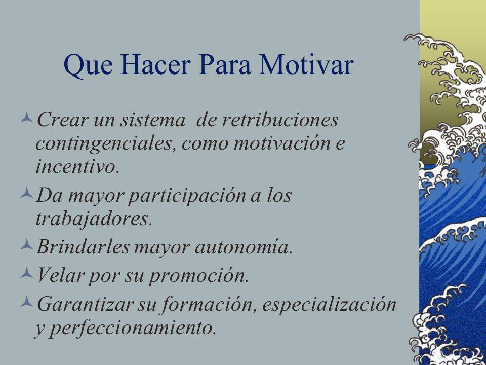 Que Hacer Para Motivar Crear un sistema de retribuciones contingenciales, como motivación e incentivo.