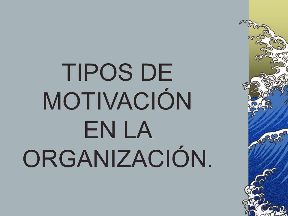 TIPOS DE MOTIVACIÓN EN LA ORGANIZACIÓN.