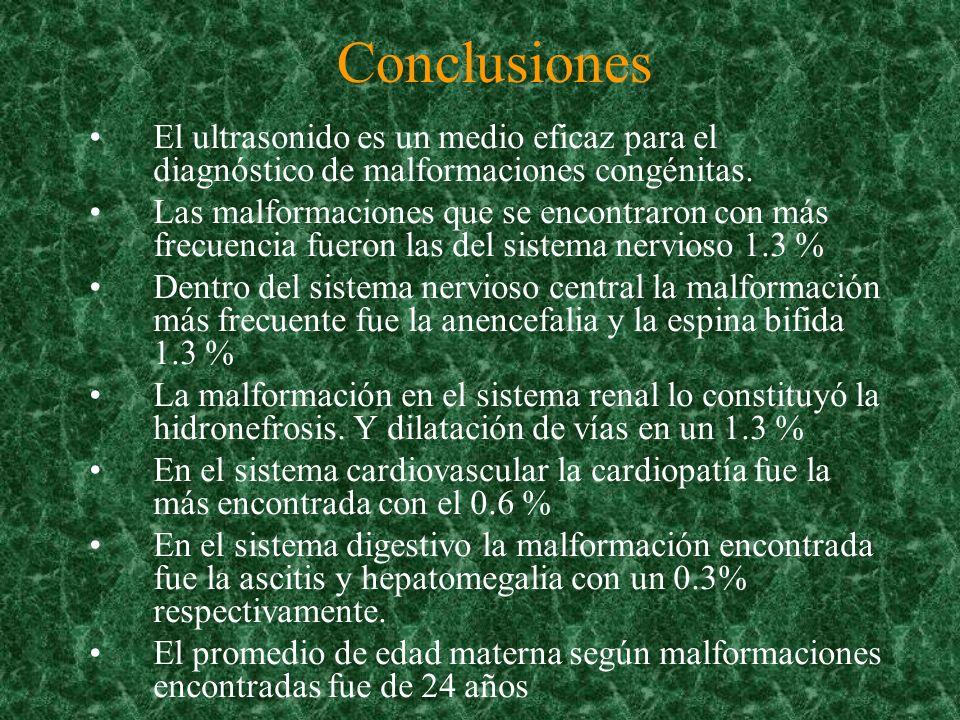 ConclusionesEl ultrasonido es un medio eficaz para el diagnóstico de malformaciones congénitas.