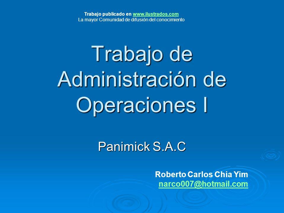 Trabajo de Administración de Operaciones I