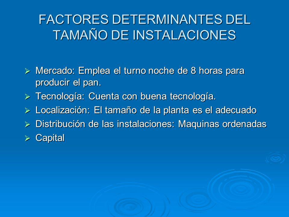 FACTORES DETERMINANTES DEL TAMAÑO DE INSTALACIONES
